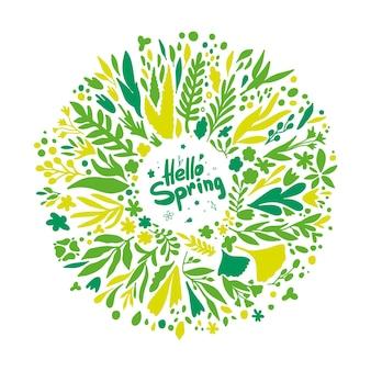 Hallo frühlingskranz mit blättern und blumen. runde frühlingspflanzen in grün und gelb