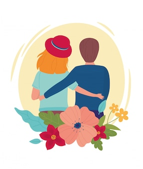Hallo frühlingspaar umarmt cartoon-rückansicht blumen