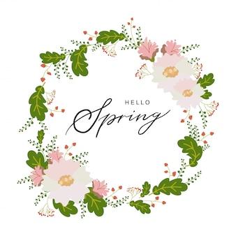 Hallo Frühlingstypografie Hand gezeichnet, Plakat mit Blumenkranzdekor beschriftend.