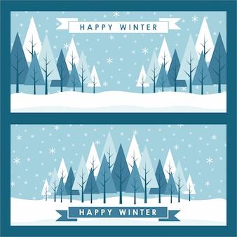 Hallo glückliche winter-hintergrund-schablonen-schnee-kiefer