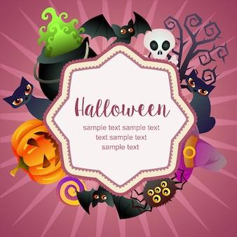 Hallo halloween-karte fledermaus süßigkeiten behandelt