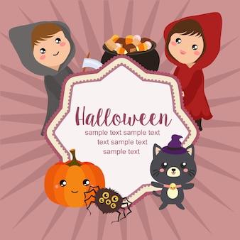 Hallo halloween-karte magisches haubenmädchen