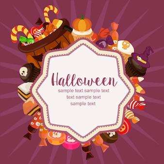 Hallo halloween-karte süßigkeiten behandelt