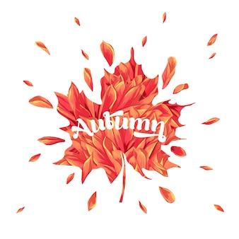 Hallo herbst aquarell blumenmuster mit ahornblatt. saisonale herbstbanner, poster, druck, verkauf, promo-vorlage. herbst abstrakter hintergrund. vektor-illustration