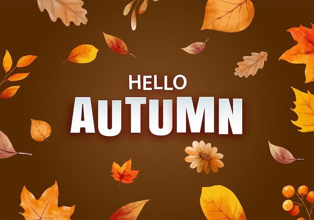 Hallo herbst mit reich verzierten blättern blumenhintergrund herbst oktober handgezeichnete schriftzug vorlage