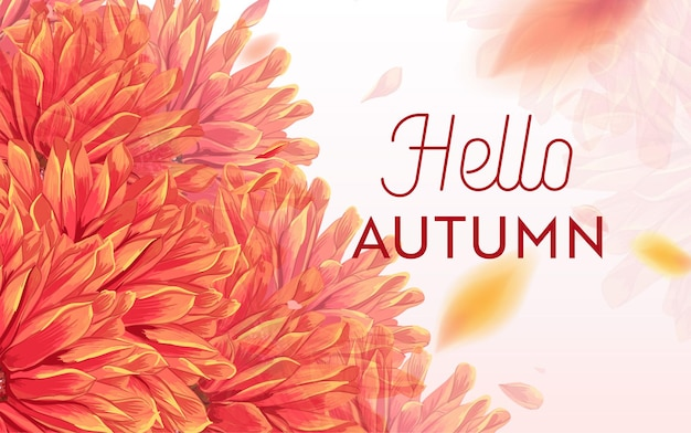Hallo herbstblumenmuster. saisonale herbst-blumen-hintergrund-vorlage für web-banner, poster, broschüre, verkauf, promo, druck. aquarell blumen. vektor-illustration