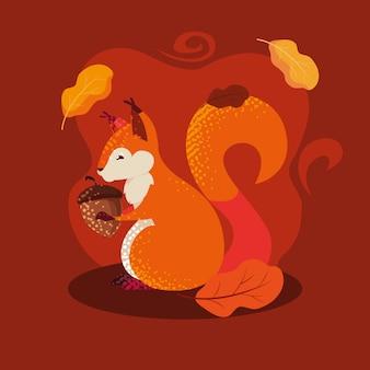Hallo herbstillustration mit streifenhörnchen und nuss