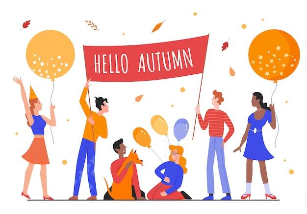 Hallo herbstkonzeptillustration. karikatur glückliche leute, die herbstliches plakat und luftballons unter fallenden saisonalen gelben blättern halten und herbstsaison zusammen auf weiß feiern
