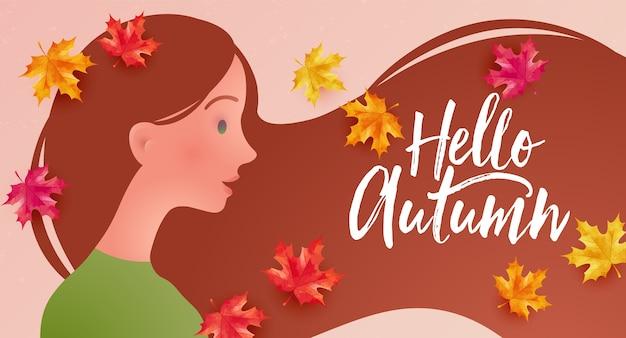 Hallo herbstkonzeptvektorillustration mit schönem mädchen im ahornherbstlaub mit fliegenden haaren