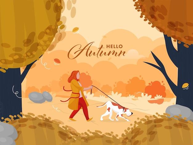 Hallo herbstsaisonaler hintergrund mit der jungen frau, die ihre hundeillustration geht.
