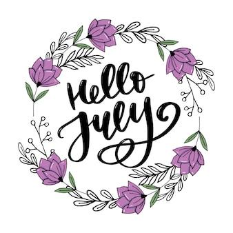 Hallo juli, handgeschriebene schrift im sommer mit blumendekor