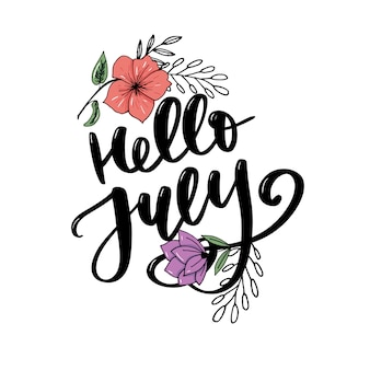 Hallo juli schriftzug drucken. sommer minimalistische darstellung. isolierte kalligraphie