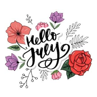 Hallo juli schriftzug. minimalistische sommerillustration. isolierte kalligraphie