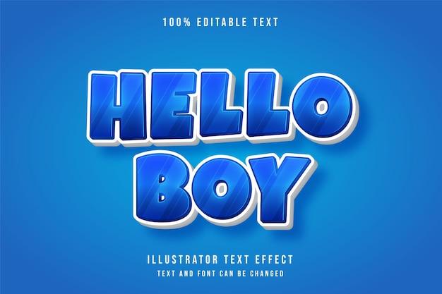 Hallo junge, 3d bearbeitbarer texteffekt, blauer abstufungsspielstil-effekt