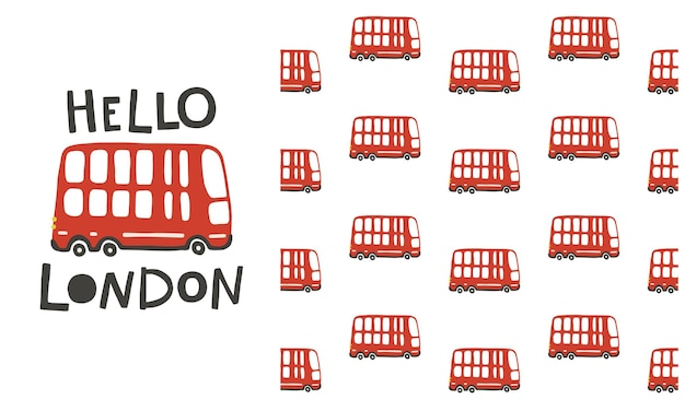Hallo london. nahtloses muster des roten doppeldeckerbusses.