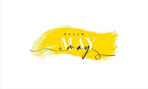 Hallo mai-karte. eine linie. beschriftungsplakat mit text.