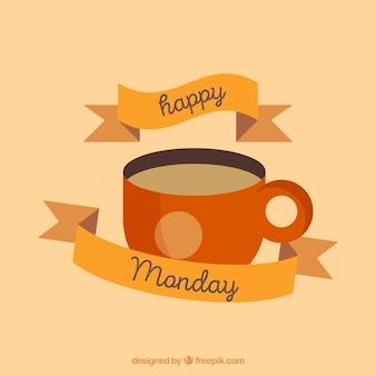 Hallo montag mit einer tasse kaffee