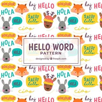 Hallo muster in verschiedenen sprachen