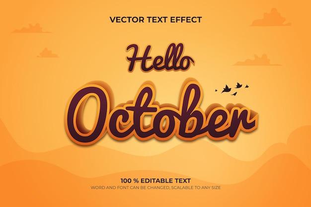Hallo oktober bearbeitbarer 3d-texteffekt mit landschaftshintergrundstil