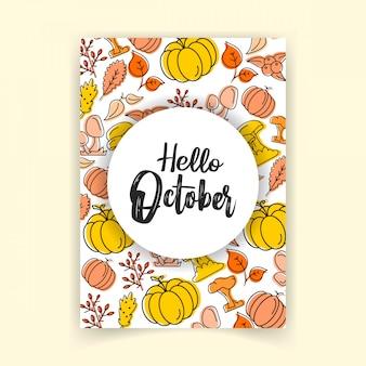 Hallo oktober-herbst-design-vektor