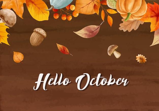 Hallo oktober mit reich verzierten blättern blumenhintergrund herbst oktober handgezeichnete schriftzug vorlage