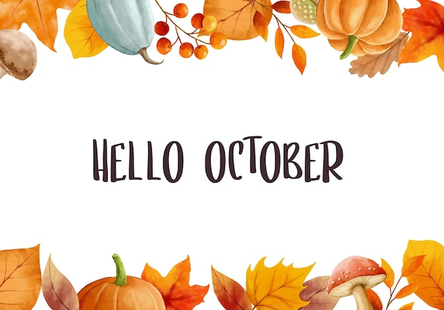 Hallo oktober mit reich verzierten blättern blumenrahmen herbst oktober handgezeichnete schriftzug vorlage