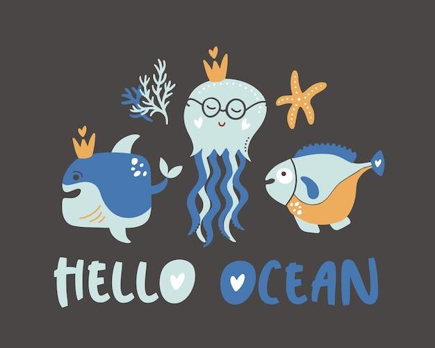 Hallo ozean sommer kinder poster.