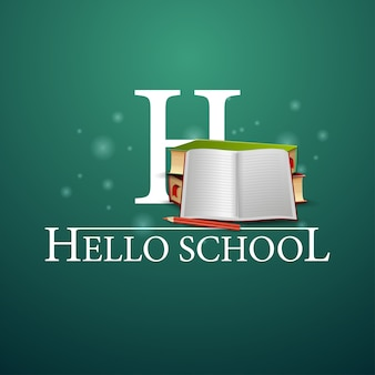 Hallo schule, schulbücher und notizbuch