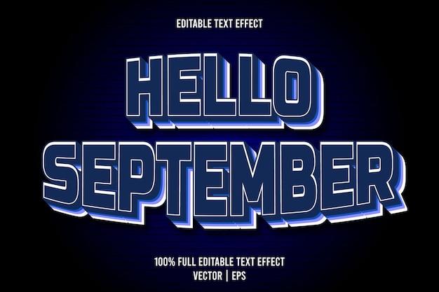 Hallo september editierbarer texteffekt 3-dimensionaler emboss-cartoon-stil