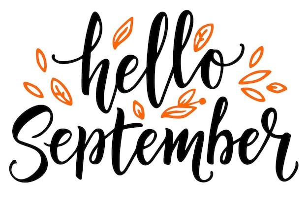 Hallo september kalligraphie hallo herbstgrußkarte handgezeichnete illustration moderne kalligraphie