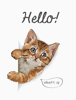 Hallo slogan mit niedlicher katze, die aus papierillustration herauskommt