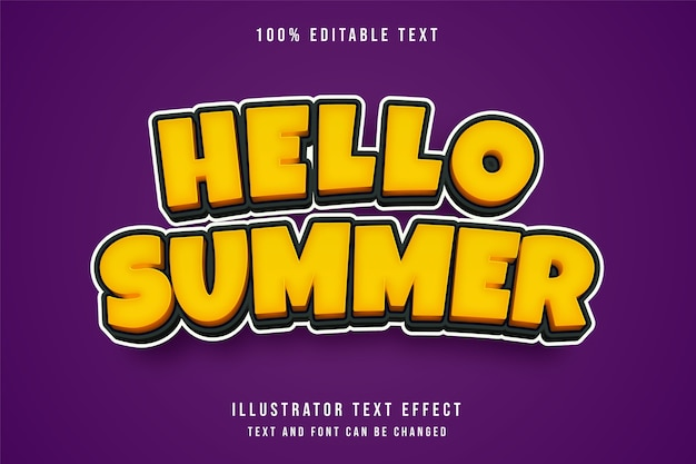 Hallo sommer, 3d bearbeitbarer texteffekt.