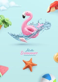 Hallo sommer 3d-karte mit aufblasbarem flamingo-spielzeug, seestern, wasserspritzer