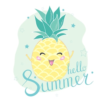 Hallo sommer ananas-charakterkarte