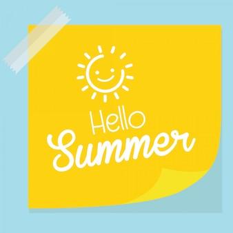 Hallo sommer auf gelbem papier
