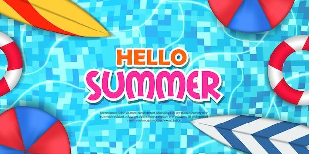Hallo sommer-banner-pool-wohnung mit surfbrett-schwimmen