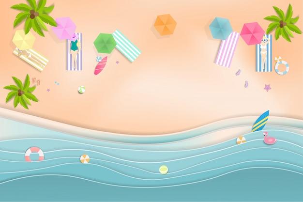 Hallo sommer beach party, papierkunststil.