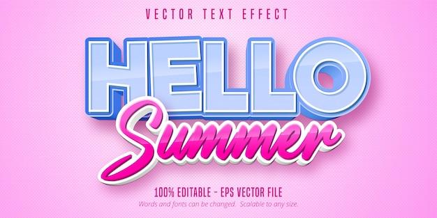 Hallo sommer bearbeitbarer texteffekt