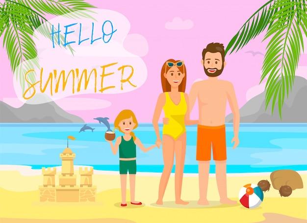 Hallo sommer-beschriftungs-vektor-farbreise-fahne.