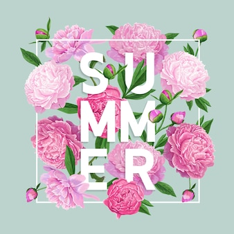 Hallo sommer-blumenmuster mit pfingstrosen-blumen