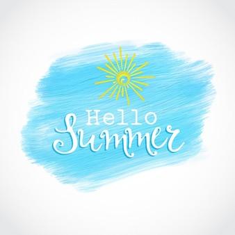 Hallo sommer-design auf einem acrylfarbe hintergrund