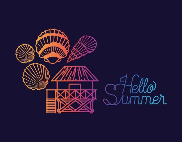 Hallo sommer design mit muscheln