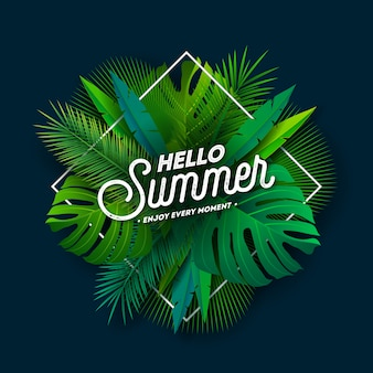 Hallo sommer-entwurf mit typografie-buchstaben und tropischen palmblättern