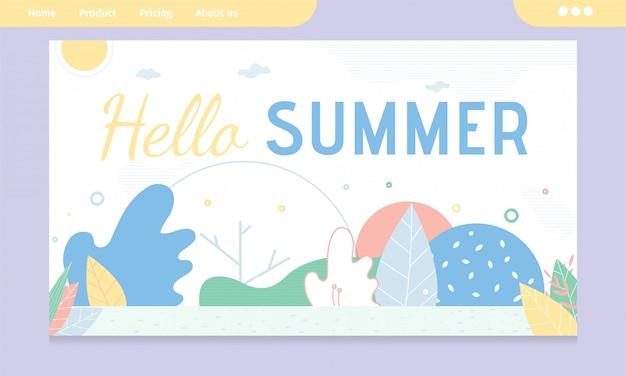 Hallo sommer-gruß-fahne mit abstraktem design