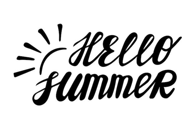 Hallo sommer handgeschriebenes saisonales zitat im kindlichen stil