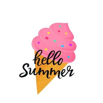 Hallo sommer handgezeichnete schrift mit eis in einem waffelkegel. kann als t-shirt-design verwendet werden.