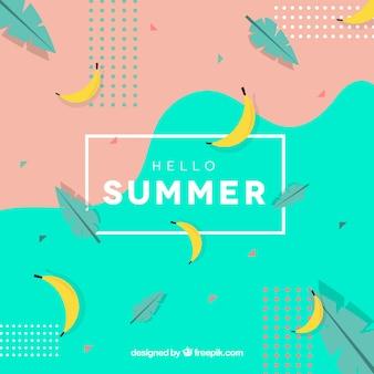 Hallo sommer hintergrund mit bananen