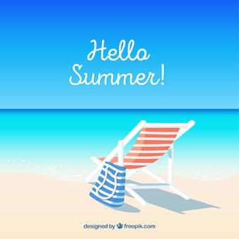 Hallo sommer hintergrund mit blick auf den strand