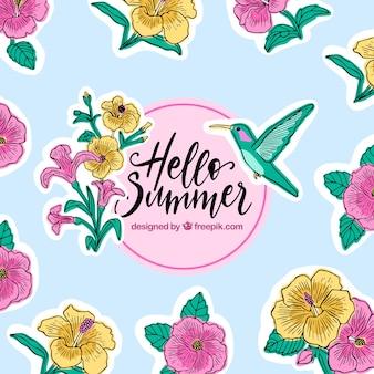 Hallo sommer hintergrund mit blumen und kolibri