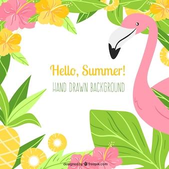 Hallo sommer hintergrund mit flamingo und pflanzen